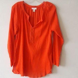 Loft orange tunic with sequins embellishment